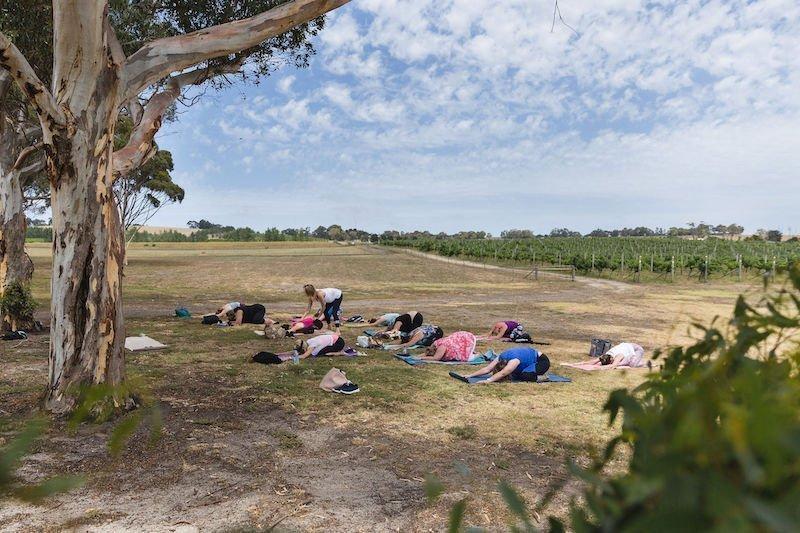 Yoga outdoors, perfect for a digital detox