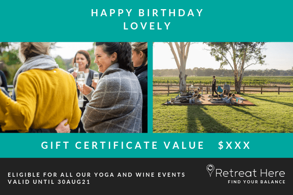 Gift Voucher Yoga and Wine Events Melbourne